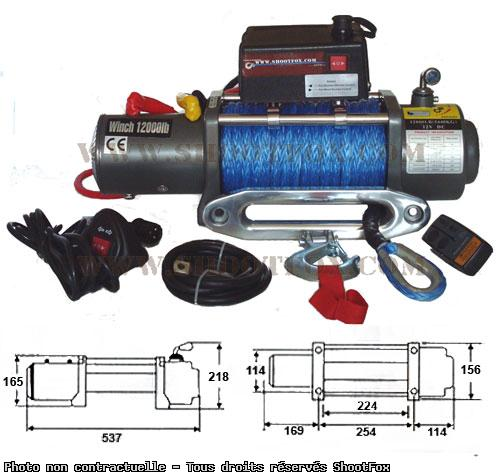TREUIL ELECTRIQUE 12V - 5400 kg - corde Plasma + Télécommande