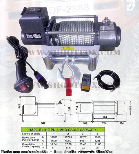 TREUIL ELECTRIQUE 12V - 7620 kg - a Télécommande