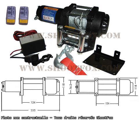 TREUIL ELECTRIQUE 12V - 1134 kg - à Télécommande