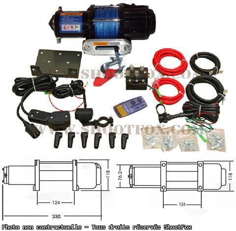 TREUIL ELECTRIQUE 12V - 2045 kg - corde Plasma + Télécommande