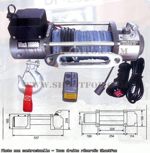 TREUIL ELECTRIQUE 12V - 4500 kg - corde Plasma + Télécommande
